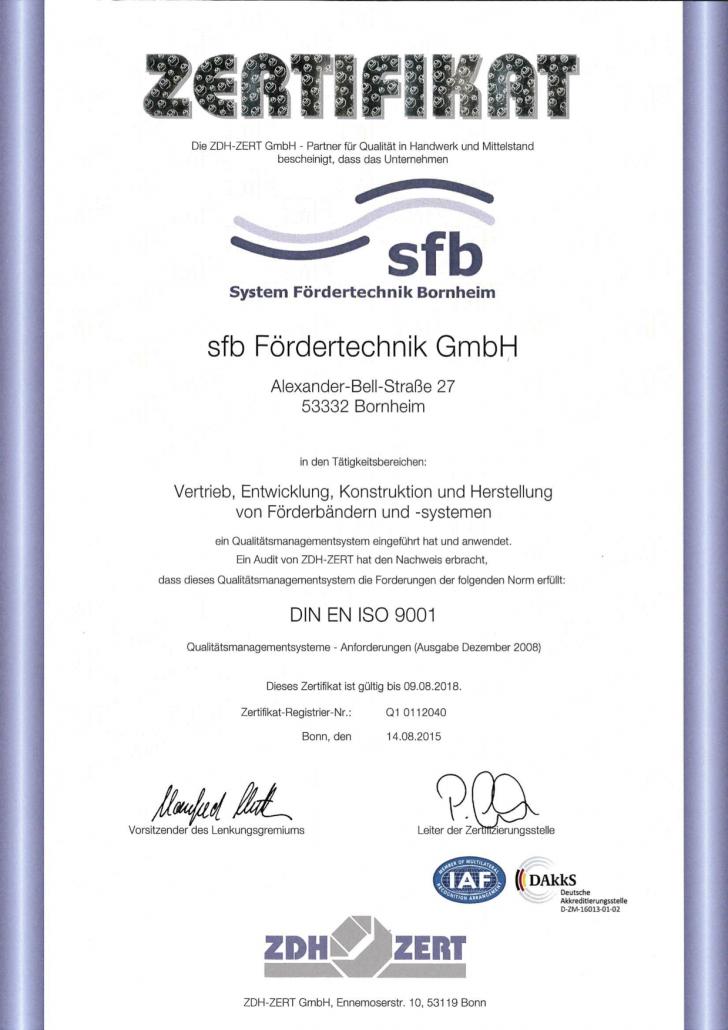 SFB - ISO 9001-2008 Zertifikat 2015