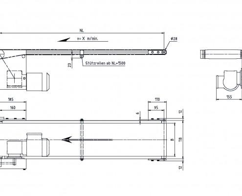 Konstruktionszeichnung: Gurtförderband ITF-P25_Antriebsvariante unterhalb in Laufrichtung links