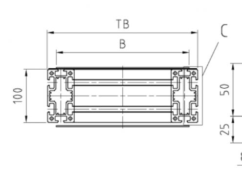 Trägerquerschnitt Gurtförderband ITF-P100